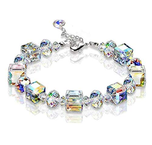 GOODCHANCEUK - Pulsera de cristal con forma de cubo de diamantes de imitación para mujer, joyería de cristal, pulsera de la amistad para niñas