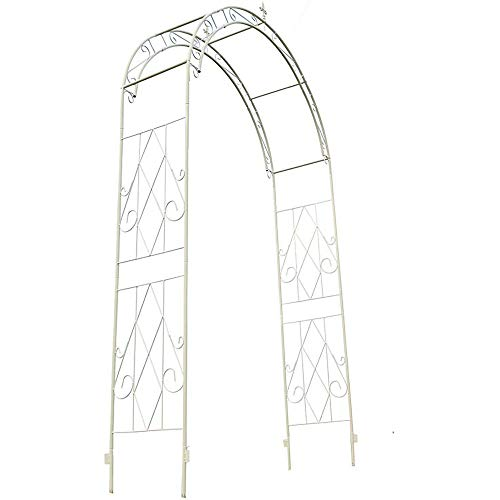 LODJ Metal Garden Arbour Arbor Decorative Pergola - with Ground Stakes - Outdoor Rose Arch for Climbing Plant