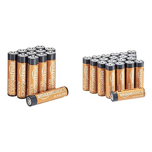 Amazon BasicsAmazonbasics Batterie Alcaline Aa 1.5 Volt, Performance, Confezione Da 20 (L'Aspetto Potrebbe Variare Dall'Immagine) & Pile Mini Stilo Alcaline Aaa Performance, Confezione Da 12