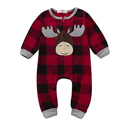 Cuteelf Baby-Weihnachtslangarm-Rotwild-mit Kapuze siamesische Spitze, die Baby-Wanderer-Weihnachtsjungen-Karikatur-gestickten Reißverschluss-Overall klettert