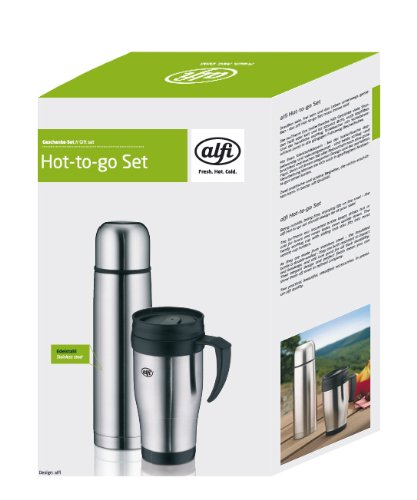 alfi 5447560075 hot-to-go Set Isolierflasche Eco 0,5 L und ecoMug 0,3 L