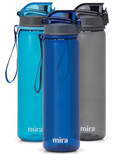 Mira Botella de Agua Tritan Reutilizable | Botella de Agua Deportiva de plástico sin BPA | Tapa con Cierre a Prueba de Fugas con Boquilla de Flujo fácil, 17 oz (500 ml), Azul Marino