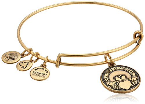 Alex and Ani Claddagh Expandable Rafaelian Gold Bangle Bracelet