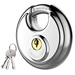 Padlock Application: Ideal for Pods, storage units, garages & sheds, trailers, mobile trucks, outdoor gates, warehouses, logistics, doors, storage, moving trucks, etc. Heavy Duty Lock: Stainless steel lock body and hardened steel shackle for maximum ...