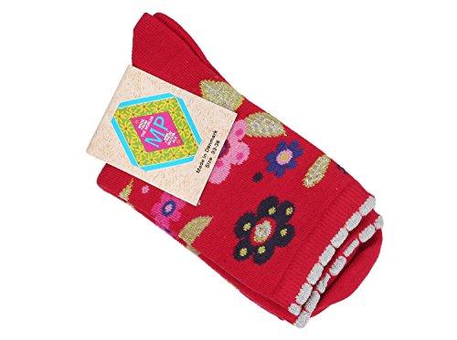MP Mädchen Socken mit Blumen 714, Rot (319), Gr. 33-36
