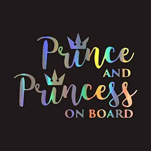 Meitinalife Prince and Princess on Board Stickers Baby Kids ON Board Car Stickers and Decals Baby in Car Styling Bumper Sticker Windshield Window Vinyl Decal for Car Body Door Decor 6.29'x4.33' (3)