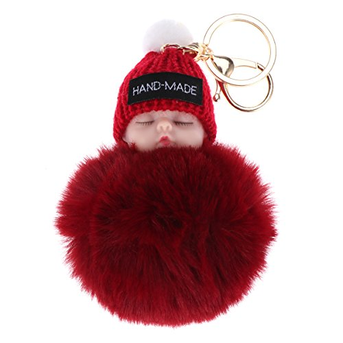 WINOMO Schlafende Babypuppe Keychain Pom Pom Flauschige Schlüsselanhänger hängende Anhänger Geschenk (Weinrot)