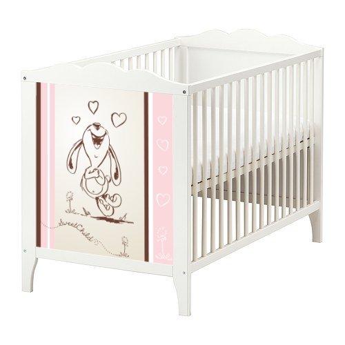 STIKKIPIX Happy Rabbit Möbelsticker/Aufkleber in rosa für das Babybett Hensvik von IKEA - BB05 - Möbel Nicht Inklusive