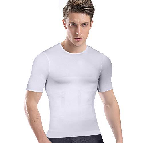 加圧シャツ メンズ 加圧インナー コンプレッションウェア ダイエット 加圧式脂肪燃焼Tシャツ 半袖 スポーツウェア 補正下着 姿勢矯正 (L, ホワイト)