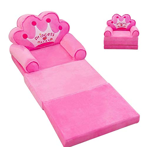 DERGH Kids Sofa Bed Plush Foldable Children Sofa Kids Sofa Backrest Chair Cartoon Fold Out Sofa Bed Folding Couch for Children Playroom Bedroom Living Room