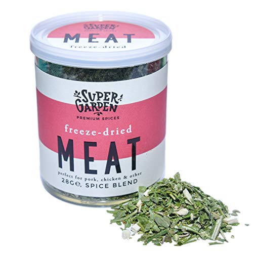 Supergarden mezcla para carne de especias liofilizadas - Producto 100{7f48feded1e790799aaa94d522fc4c74c34a237c529278de3b2cbe4d18f2c0a3} puro y natural - Apto para veganos - Sin azúcares, aditivos artificiales ni conservantes añadidos - Sin gluten - No OMG