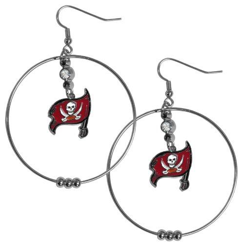 NFL Siskiyou Sports Womens Tampa Bay Buccaneers 2 Inch Hoop Earrings One Size Team Color