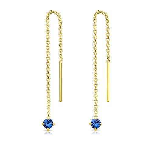 DTPsilver Pendientes Pequeños con Cadena y colgante con 3 mm Cristal Swarovski Elements - Plata de Ley 925 Plateado en Oro Amarillo - Longitud 57 mm - Color: Zafiro Azul