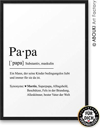 PAPA Definition ABOUKI Kunstdruck - ungerahmt - personalisierte Geschenk-Idee Vatertag Geburtstag Weihnachten für Familie Vater Mann