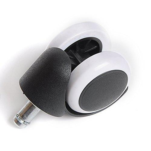 Ersatzrollen für Bürostuhl, Drehgelenk, Schwarz mit Weiß, 5 Stück (5 cm Standard-Schaft für IKEA 10 x 22 mm, 1 Stück)