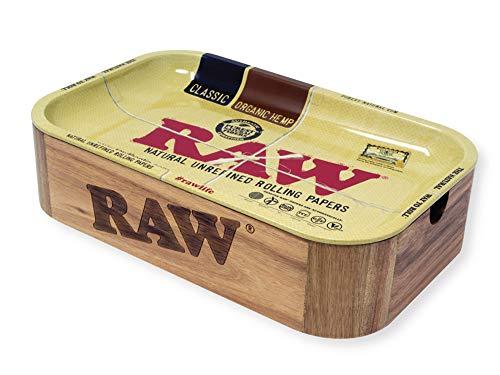 RAW 18870 Cache BOX-28,0 x 17,5 x 7 cm-Wooden Box mit Magneten und Metal Tray als Deckel, Holz
