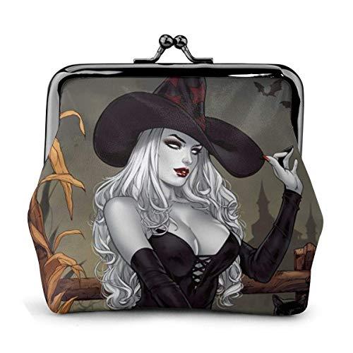 Halloween Bruja Sexy Calabaza Escoba Gato Bolsa Vintage Chica Beso-Cerradura Cambiar Monedero Carteras Hebilla Monederos de Cuero Llave