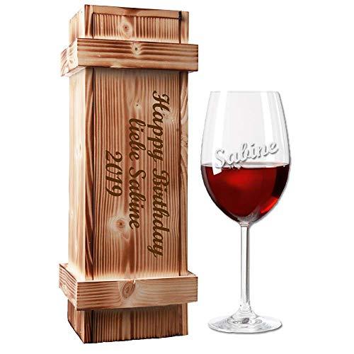 Rotweinglas (Leonardo) mit Holzkiste im Geschenk-Set - mit kostenloser Gravur - EIN besonderes Geburtstagsgeschenk | Weingeschenk Weinglas graviert | Muttertagsgeschenk (Name)