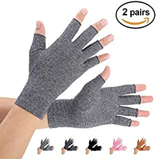 Brace Master 2 Pairs Compression Arthritis Gloves Support and Warmth for Hands, Finger Joint, Relieve Pain from RSI, Carpal Tunnel and Tendonitis for Women and Men (Gray, X-Large)