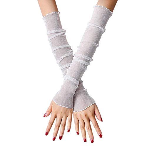 Damen Handschuhe Spitze Armstulpen Falsche EIS Seide Einfarbig Outdoor Fäustlinge Einfacher Stil Fingerlos (Color : Weiß, One Size : OneSize)