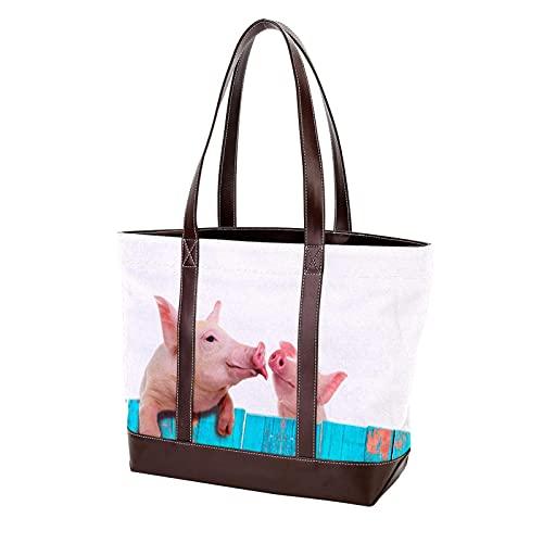 NaiiaN Einkaufstasche Handtaschen Geldbörse Shopping lustiges Schwein am Zaun hängen Umhängetaschen für Mutter Frauen Mädchen Damen Student Leichtgewicht Gurt