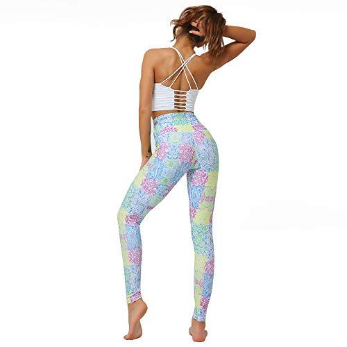 DSCX Pantaloni da Yoga con Leggings Femminili Tuta da Yoga a Vita Alta conStampa Sportiva Pantaloni da Yoga Blu ad Asciugatura Rapida M