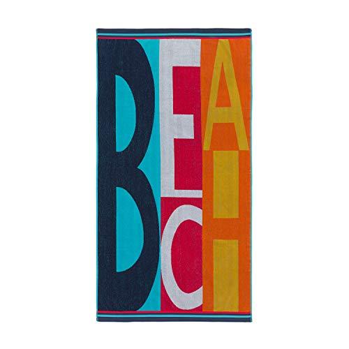 Montse Interiors, S.L. Toalla Playa o Piscina Letras en Colores Algodón Egipcio 100% (Letters, 90x170)