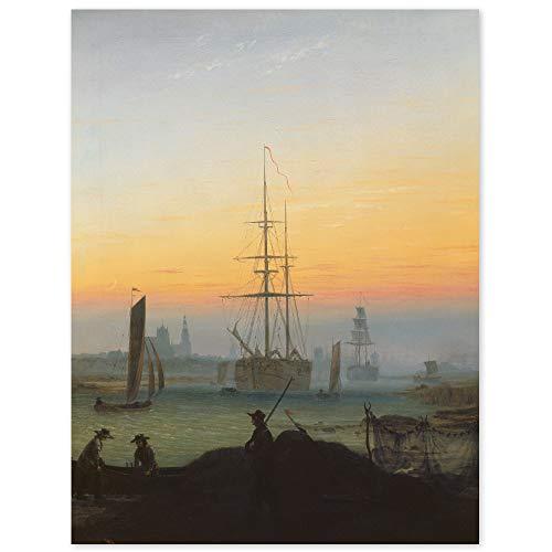 JUNIWORDS Poster, Caspar David Friedrich, Greifswalder Hafen, 40 x 52 cm