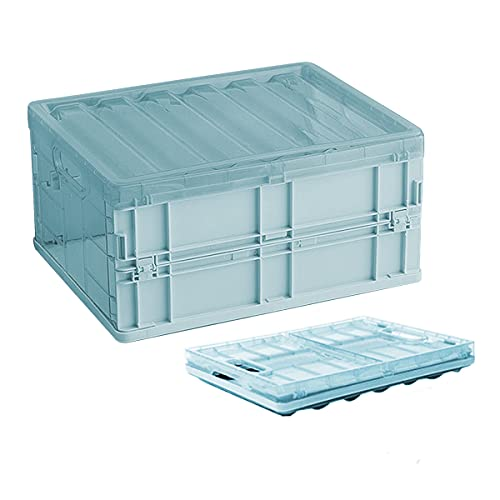 Caja de almacenamiento plegable organizador de contenedores, cesta de almacenamiento plegable de plástico, mini apilable, cesta de 10 L, caja plegable con tapas para niños, ropa (azul)