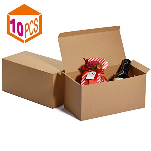 MESHA Groomsmen Gift Boxes 9x45x45 Inch Gift Boxes Bulk Gift Boxes with Lids Brown Kraft Paper Boxes Easy Assemble Boxes for Wrapping Gifts 1 Brown10Pcs