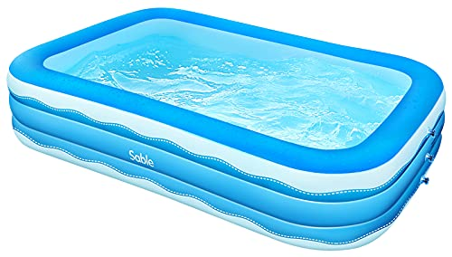 Sable Inflatable Pool, 118 x 72 x 22in Rectangular Swimming Pool for Toddlers, Kids, Family, Above Ground, Backyard, Outdoor, Blue (SA-HF071)