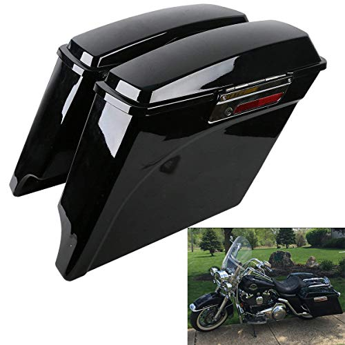XFMT 5 Inch Vivid Black Stretched Saddlebags Extended Saddle bag with Lids Latch Keys For Harley Touring FLH FLT Electra Glide Road king Ultra Street 1993-2013