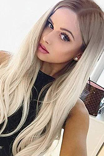 VEBONNY Ombre 613 Lace Front Perücken mit braunen Wurzeln Ombre Platinum Blonde Hairr Perücke für Frauen 22 Zoll gerade Perücke mit Mittelteil