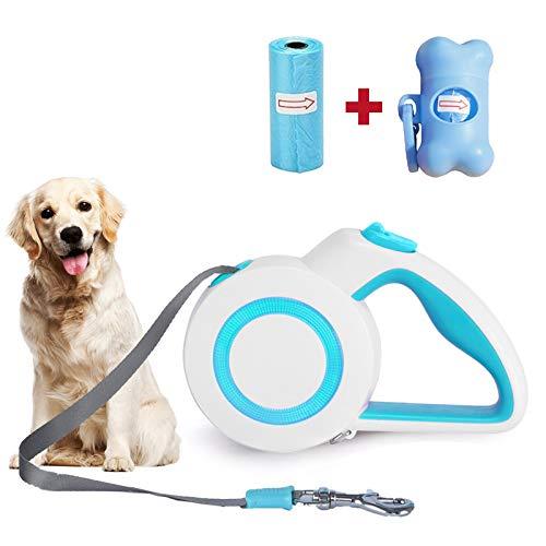 IYOYI 5M Einziehbare Hundeleine Verstellbar Rollleinen Joggingleine Mit Luchtenden Reflektierenden Maschen Automatische Flexible Hundeleine, Beutelspender & Poop Taschen Inklusive