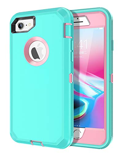 I-HONVA for iPhone 8 Case, iPhone 7 Case Built-in Screen Protector Shockproof Dust/Drop Proof 3-Layer Full Body Protection Heavy Duty Durable Cover Case for Apple iPhone 8/7 4.7-inch, Teal/Pink