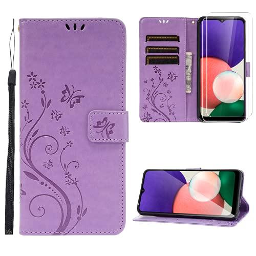 Ikziwreo Funda para Samsung Galaxy A22 5G, Piel sintética con 2 Protectores de Pantalla de Cristal Templado, Ranuras para Tarjetas, función Atril, Cierre magnético (Púrpura)