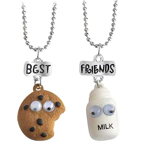 SGOT Damen Mädchen Jungen Halskette Silber Milch und Kekse Schmuck Anhänger mit Gravur Freundschaftsketten 2 Stück