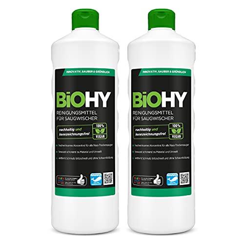 BiOHY Limpiador para limpiaparabrisas, 2 botellas de 1 l, concentrado 1:100 para todos los aspiradores húmedos y secos, ideal para azulejos, PVC, parqué, laminado y alfombra, sostenible y ecológico