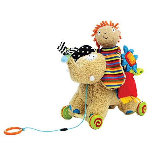 Dolce Pull Along Elephant Plush Interactive Stuffed Animal Plush Toy 10 inch, Educational Sensory Gift for Kids