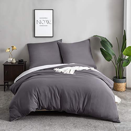 QZY 3teilig Bettwäsche 50% Baumwolle mit Reißverschluss - 200x200cm und 2x80x80cm Kissenbezug | Dunkelgrau/hellgrau
