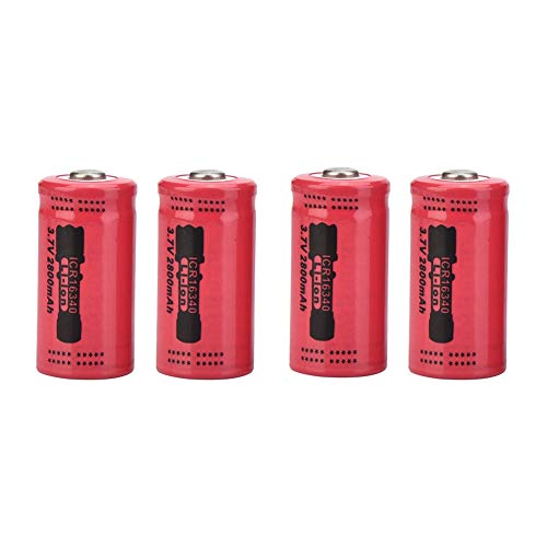 Wendry Rechargeable Battery,4PCS Lithium Li-ion 16340 Battery 2800mAh Each Rechargeable Battery with No Heating,Perfect Heat-Proof,high Temperature-Proof,Small Size,Light Weight