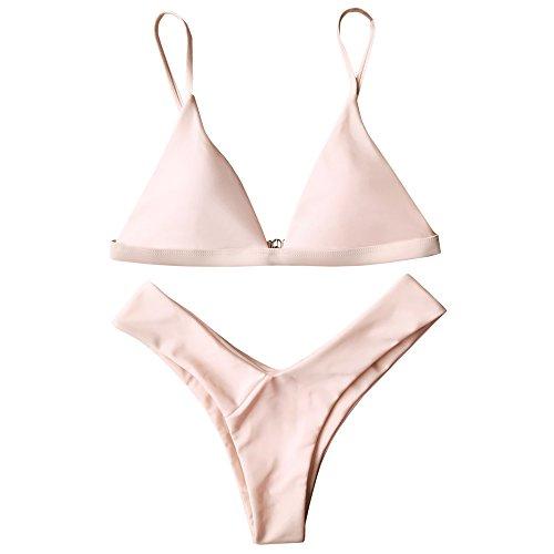ZAFUL Damen Sport Push-Up Wickeln Bikini Sets Bademode Badeanzug Swimwear Swimsuit Rosa S