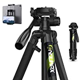 Endurax 74 Camera Tripod for Canon Nikon Sony, DSLR Tripod Stand Tall with Phone Mount and Carry Bag