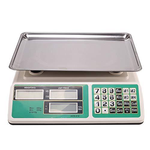 ZCY ES1008 Elektronische weegschaal, 88,18 lb/5G, hoge precisie, keukenweegschaal, roestvrij staal, digitale weegschaal, markt, fruit, prijsschaal, tafelweegschaal met achtergrondverlichting