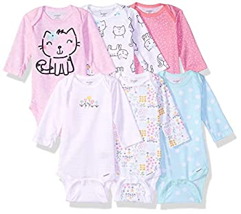 Onesies Brand Baby Girls  6-Pack Long Sleeve Bodysuits Cats 3-6 Months