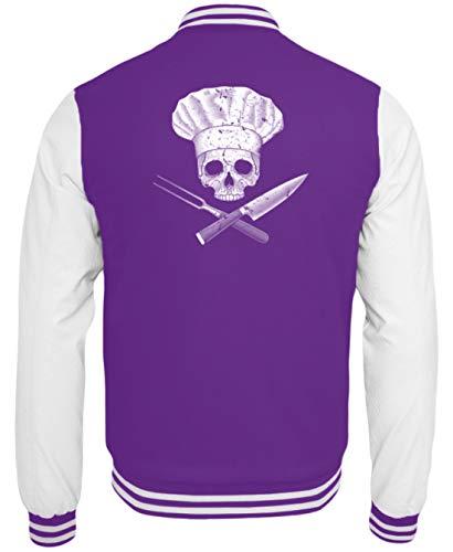 Koch-Jacke | Gastro Skull Totenkopf Design/Gastronomie Gastro T-Shirt/Arbeitskleidung - College Sweatjacke -L-Lila-Weiss