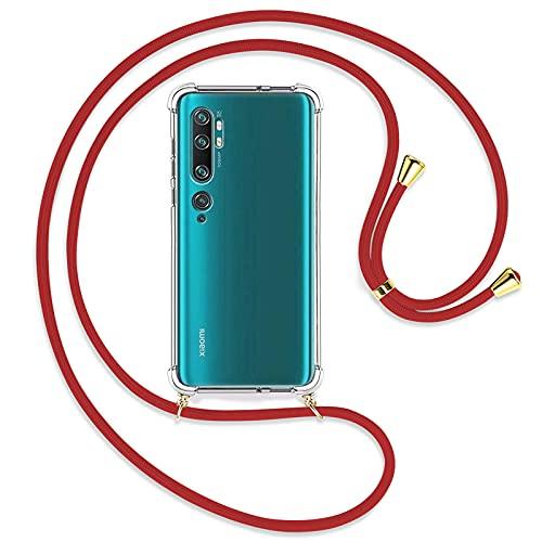 TBOC Funda para Xiaomi Mi Note 10 [6.47 Pulgadas] - Carcasa Transparente con Cuerda [Roja] para Móvil Cordón Ajustable Práctico Collar de Moda Cadena para Cuello Resistente Arañazos