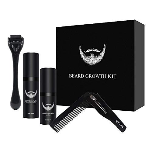 Kit Barba Cuidado para Hombres, Set de Cuidado de Barba Conjunto de Molduras de Barba con Solución de Limpieza para Rodillos de Barba y Peine para Barba