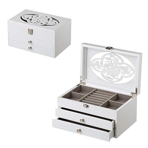 Joyero de Madera con 2 cajones Blanco romántico para Dormitorio Fantasy - LOLAhome