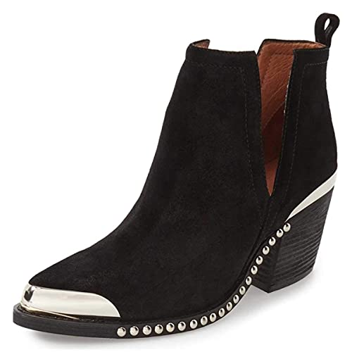 YDN Women's Low Heel Ankle Booties Faux Suede Cowboy Boots Cut Out with Metal Toe Shoes for Formal Outfit Black Studs 7